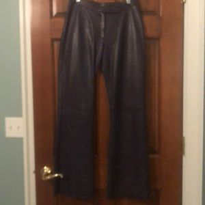 Size small purple leather pants, H&M circa 2000